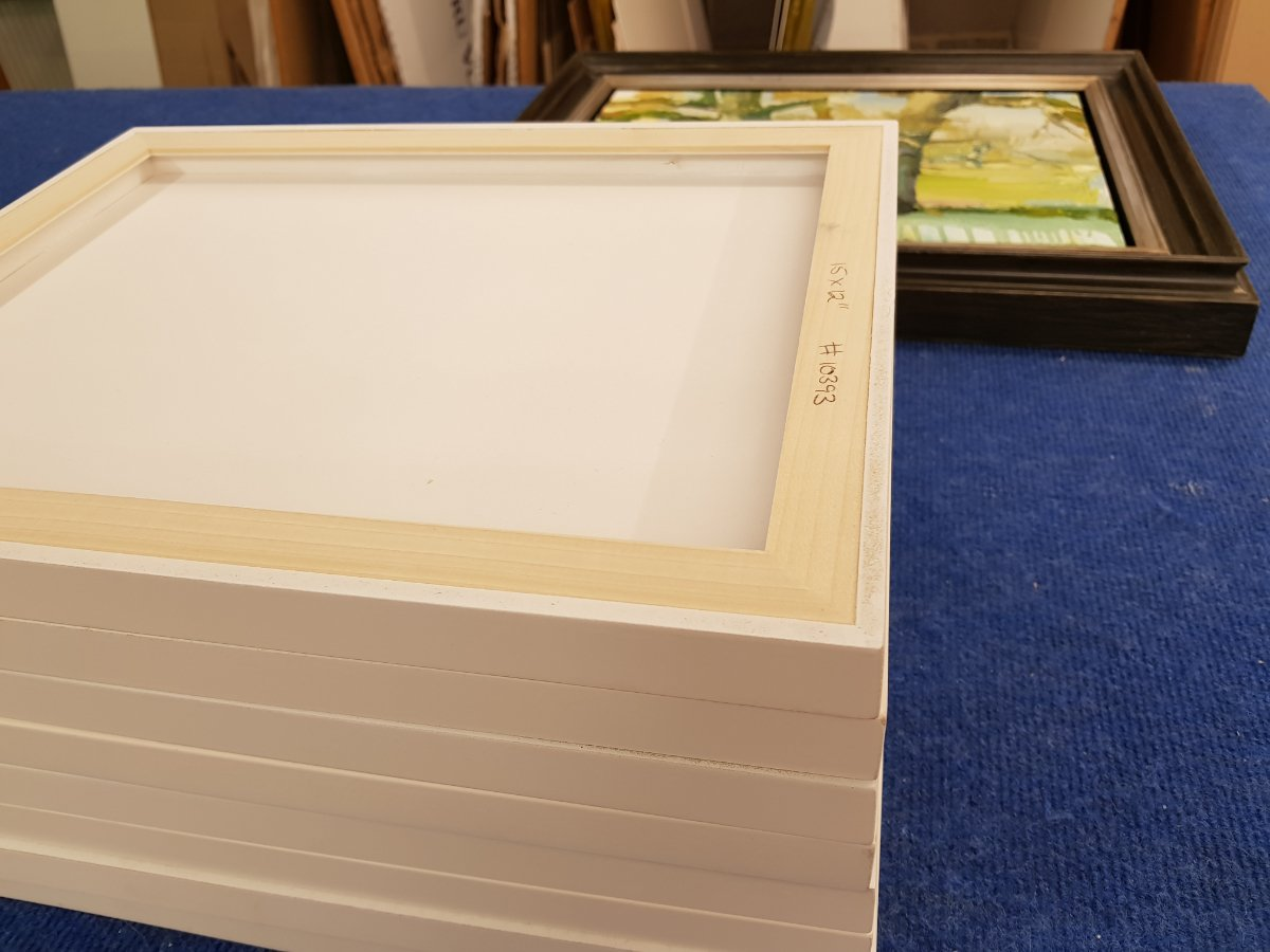 Square and Golden - substrate frames applied to the back of a gessoed panel