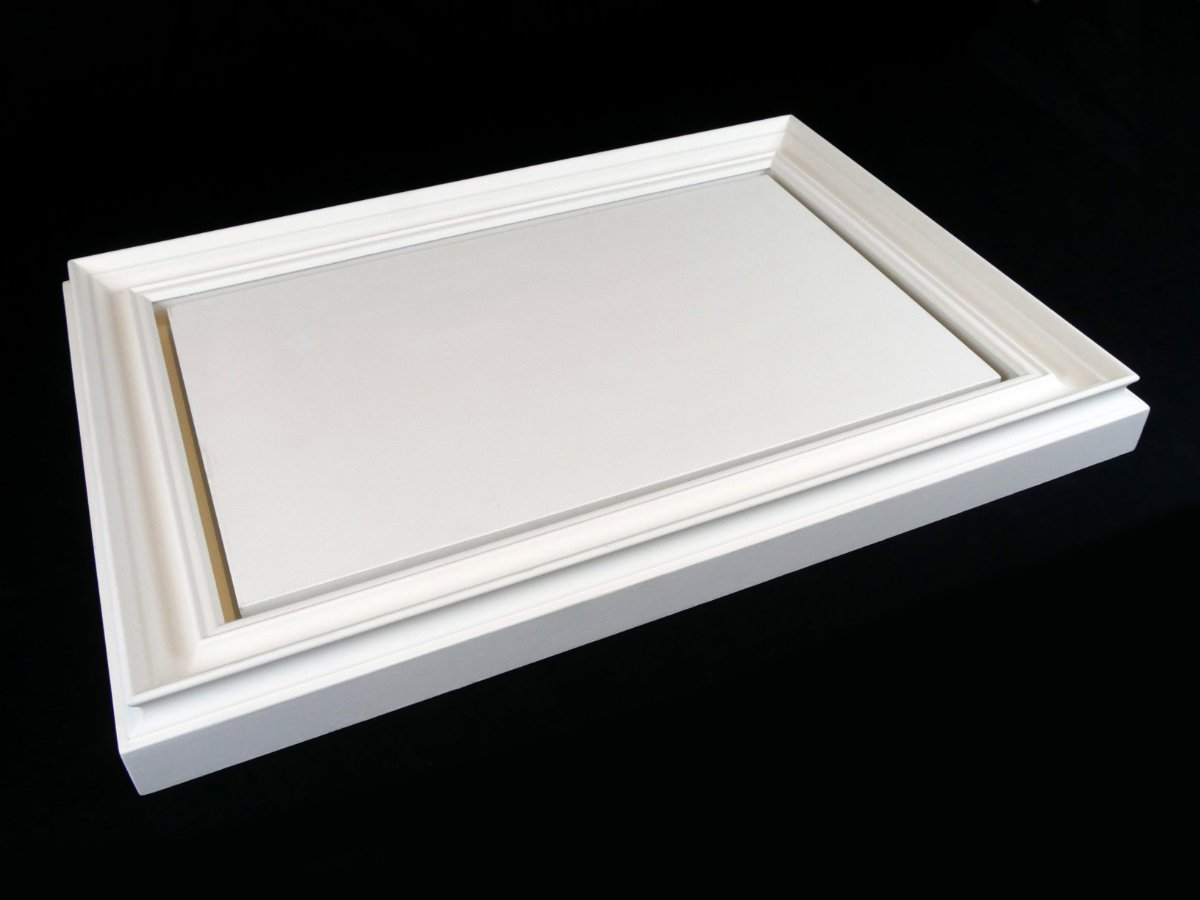 Square and Golden - a gessoed frame fitted to a gessoed panel