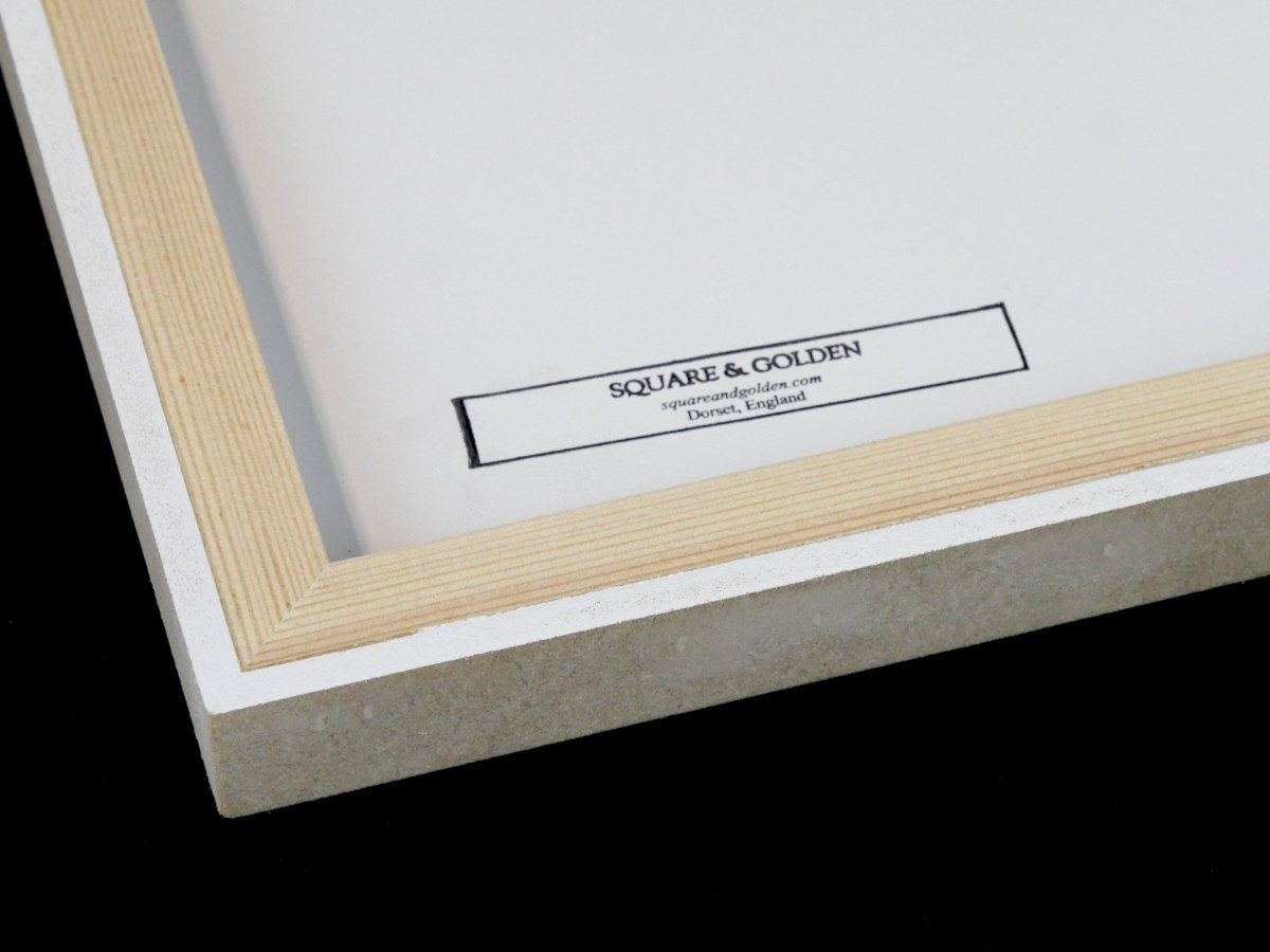 Square and Golden - substrate frames applied to the back of a gessoed panel with stamp